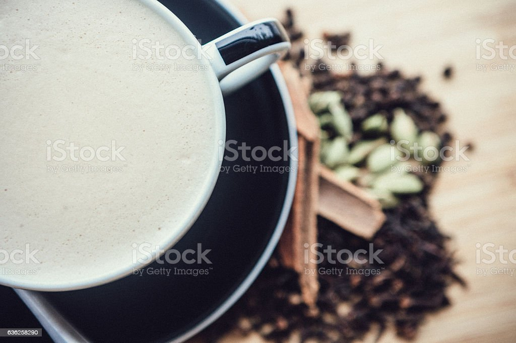 Chai Tea Latte and Spices stock photo