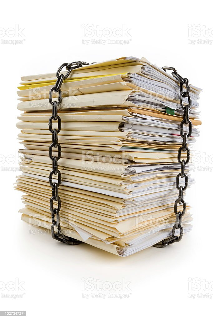 Chain and file stack royalty-free stock photo