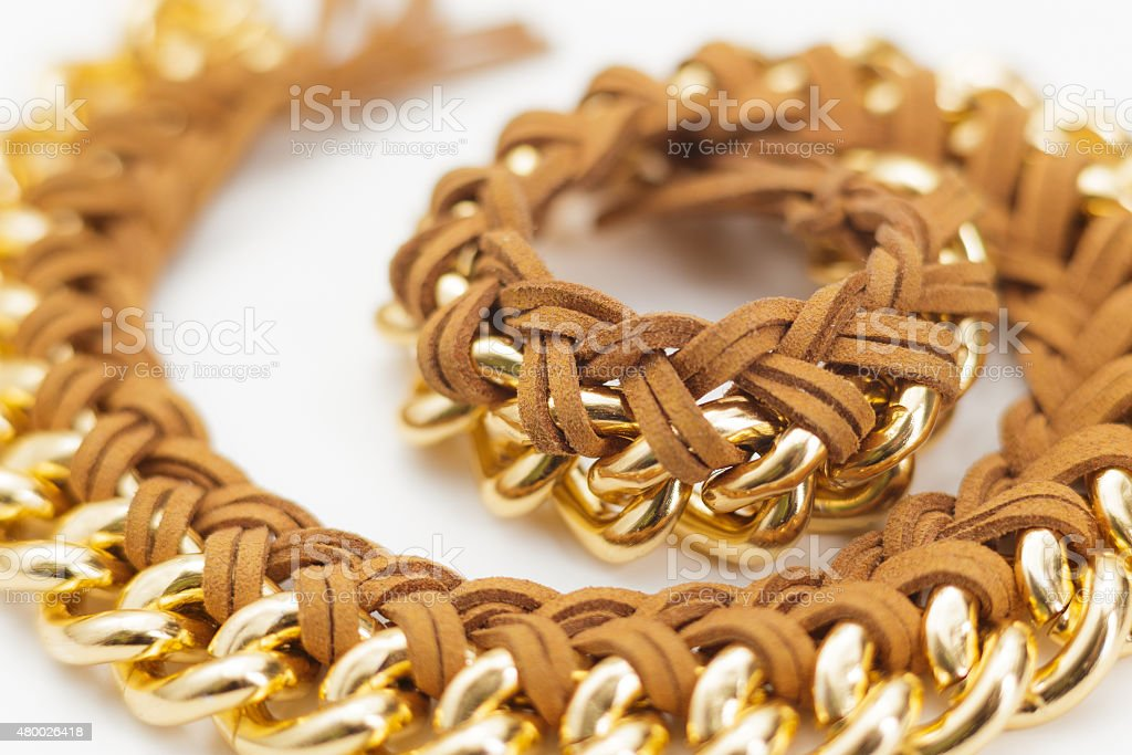 Chain and Leather Jewelry Statement Necklace stock photo