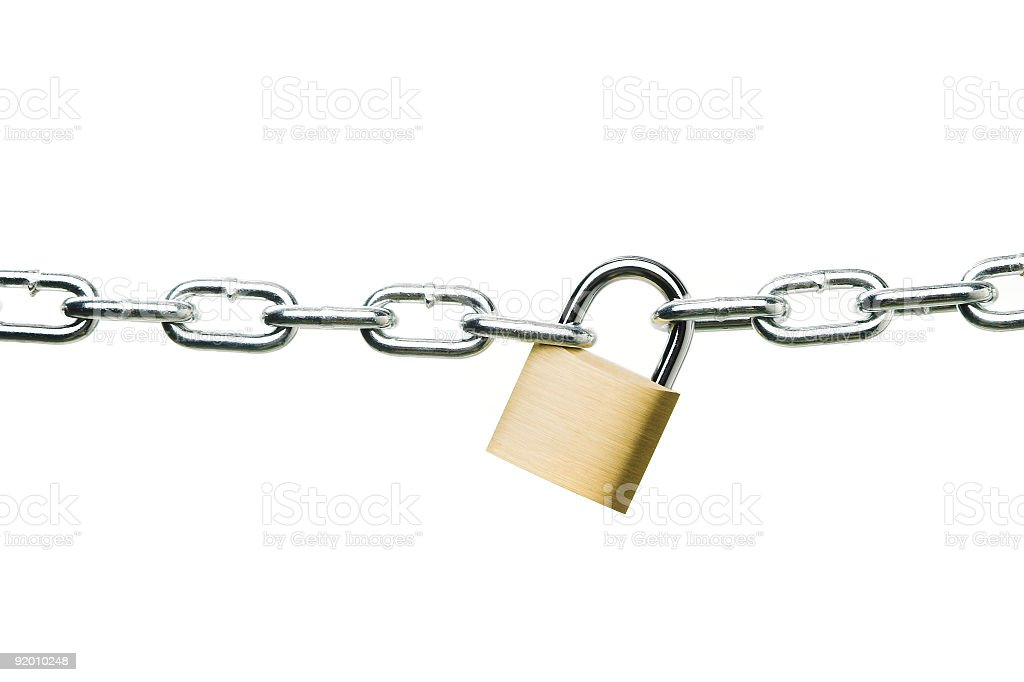 A chain and padlock on a white background royalty-free stock photo