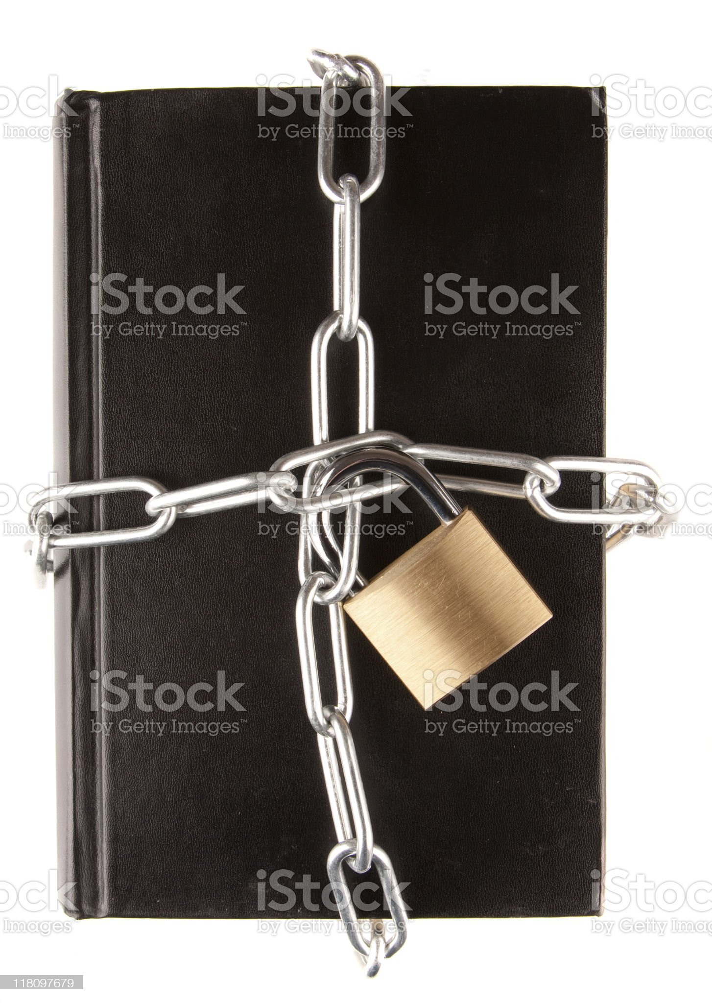 Chain around a black book royalty-free stock photo