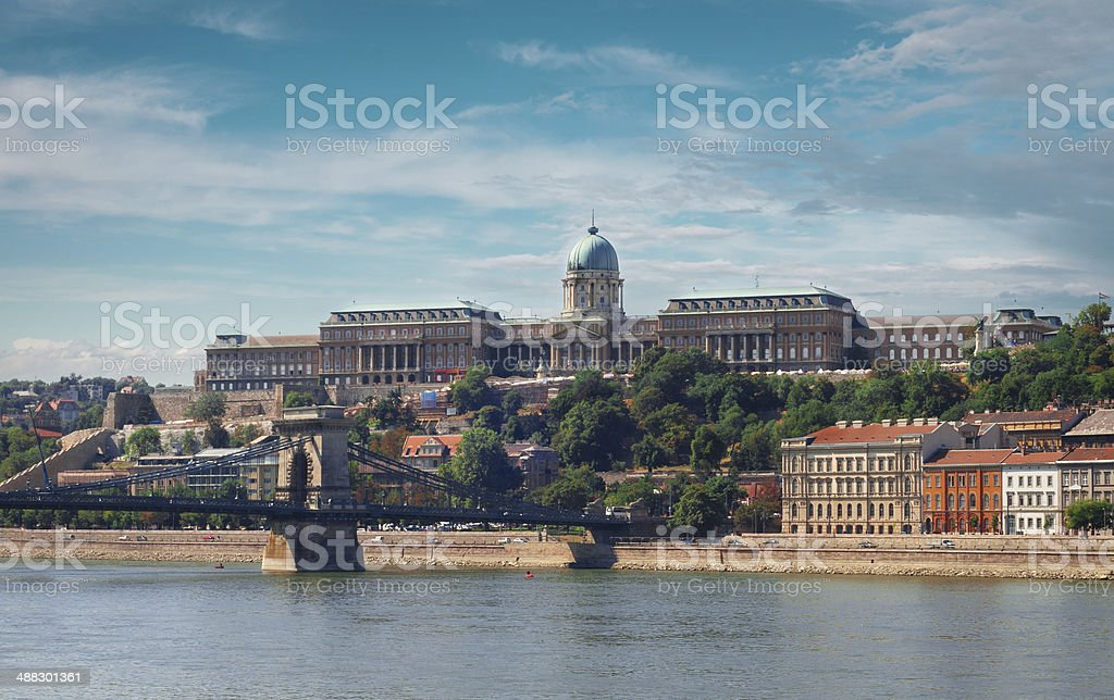Chain bridge and Buda castle in Budapest royalty-free stock photo