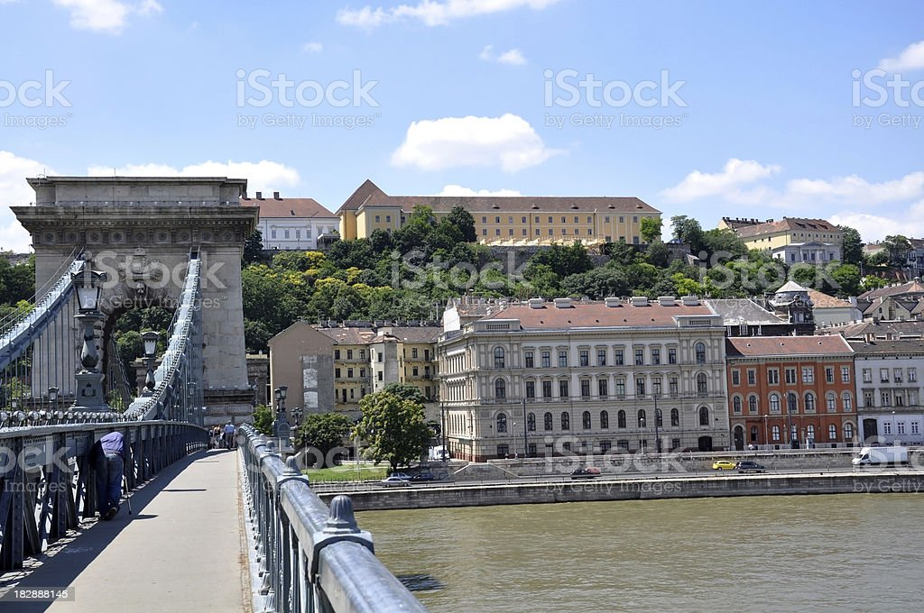Chain Bridge and buildings of Buda, Budapest, Hungary royalty-free stock photo