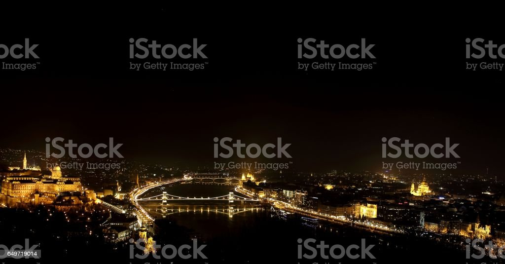 Chain bridge and Castle at Budapest. stock photo