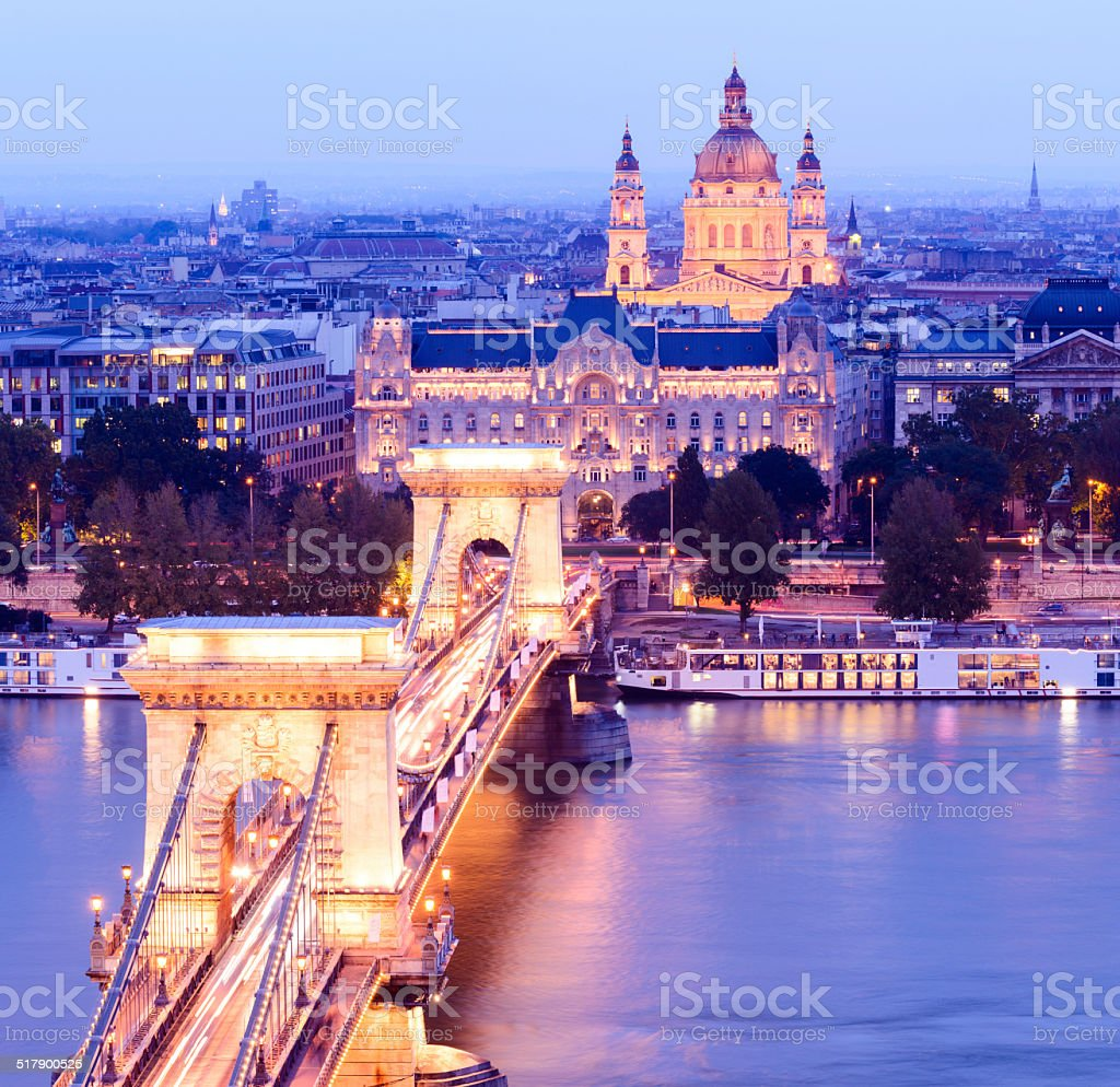 Chain Bridge and City Skyline at Night in Budapest Hungary stock photo