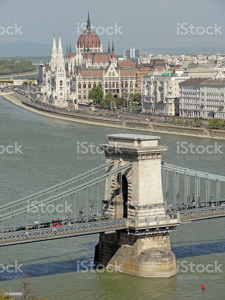 Chain Bridge and parliament building, Budapest, Hungary royalty-free stock photo