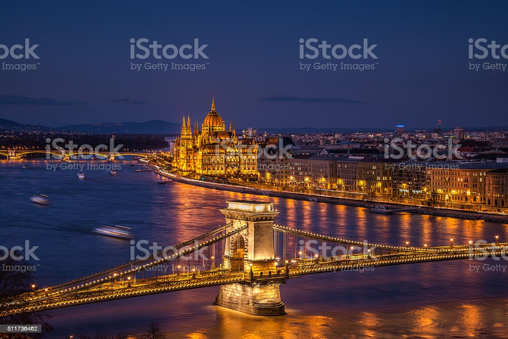 Chain bridge and Parliament building in Budapest, Hungary stock photo