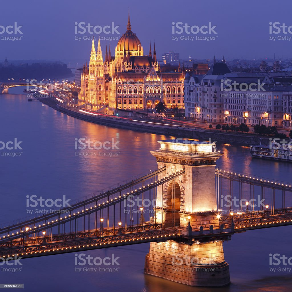 Chain Bridge and Parliament building in Budapest royalty-free stock photo
