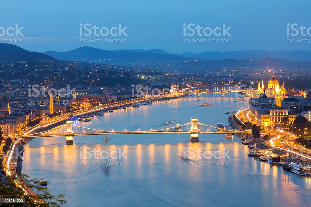 Chain Bridge and Parliament in Budapest at dusk stock photo