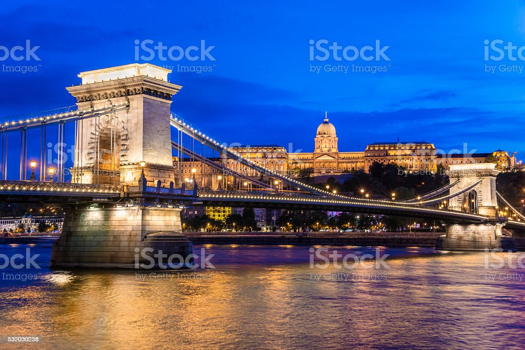Chain Bridge and Royal Palace in Budapest by Night stock photo