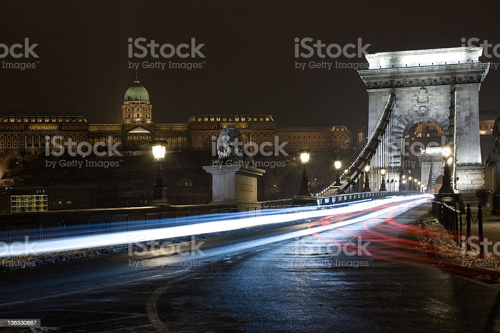Chain bridge and Royal Palace in Budapest, Hungary by night royalty-free stock photo