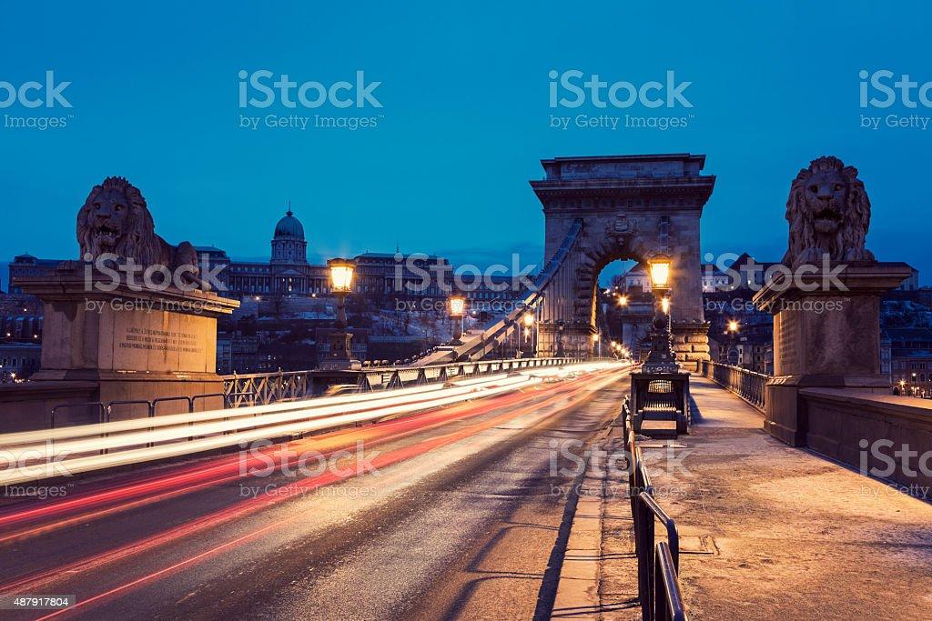 Chain bridge and Royal Palace stock photo