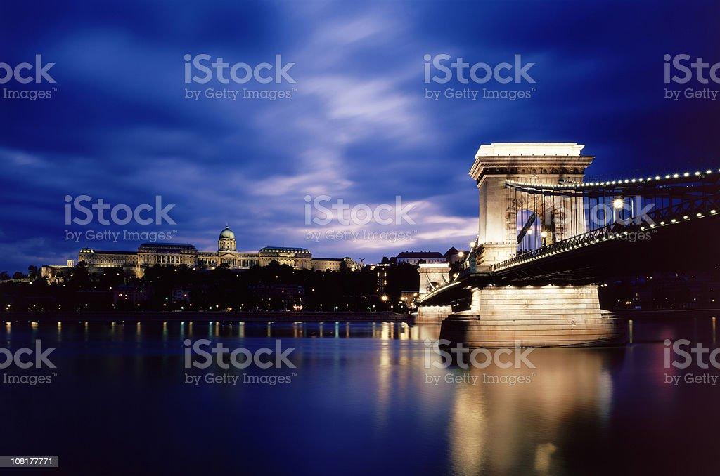 Chain bridge and the Buda Castle royalty-free stock photo