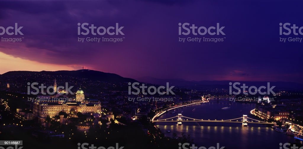 Chain bridge and the Buda Castle royalty-free stock photo