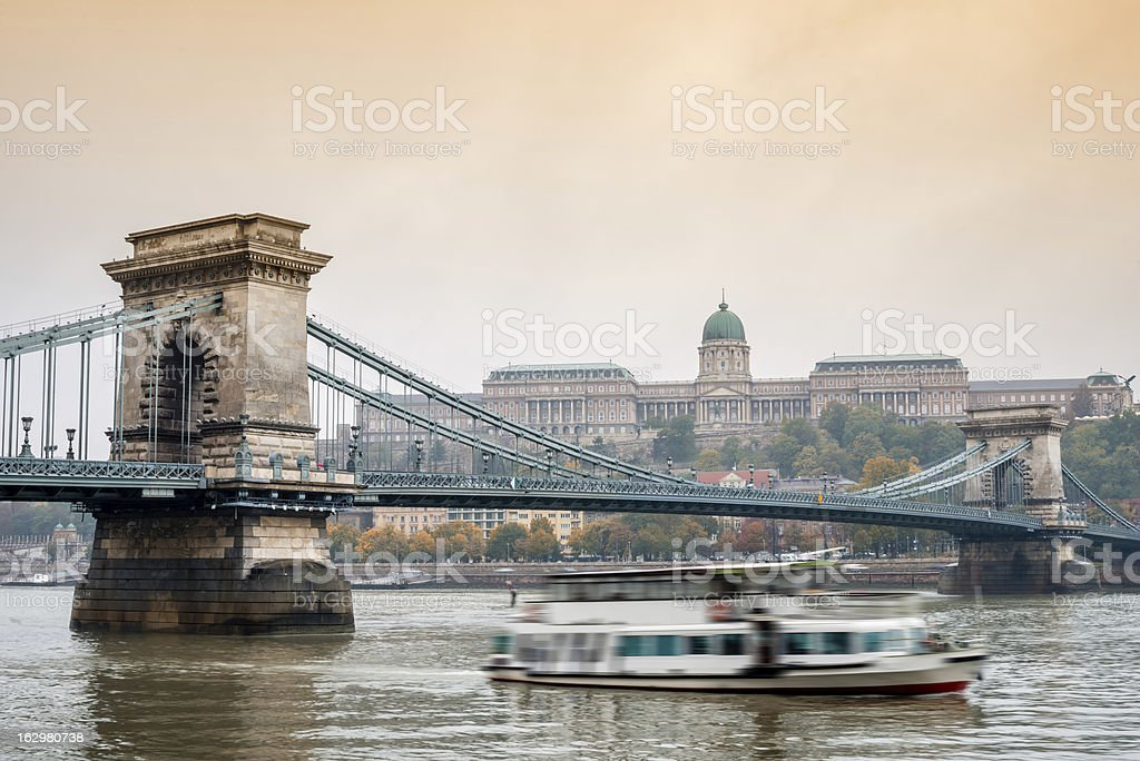 Chain bridge and the Budapest royalty-free stock photo