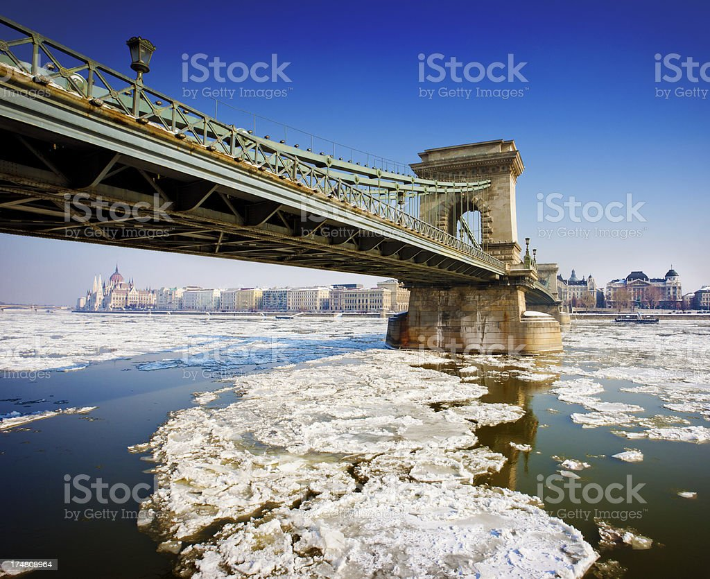 Chain bridge and the icy Danube river royalty-free stock photo