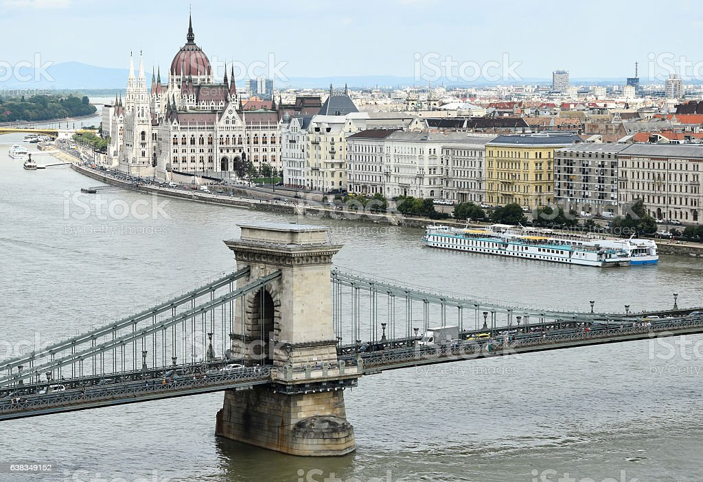 Chain Bridge and the parliament building, Budapest stock photo