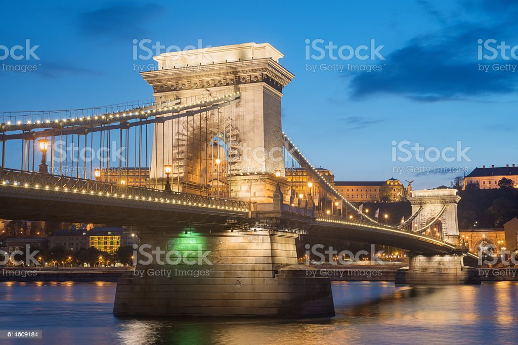 Chain Bridge at Budapest stock photo