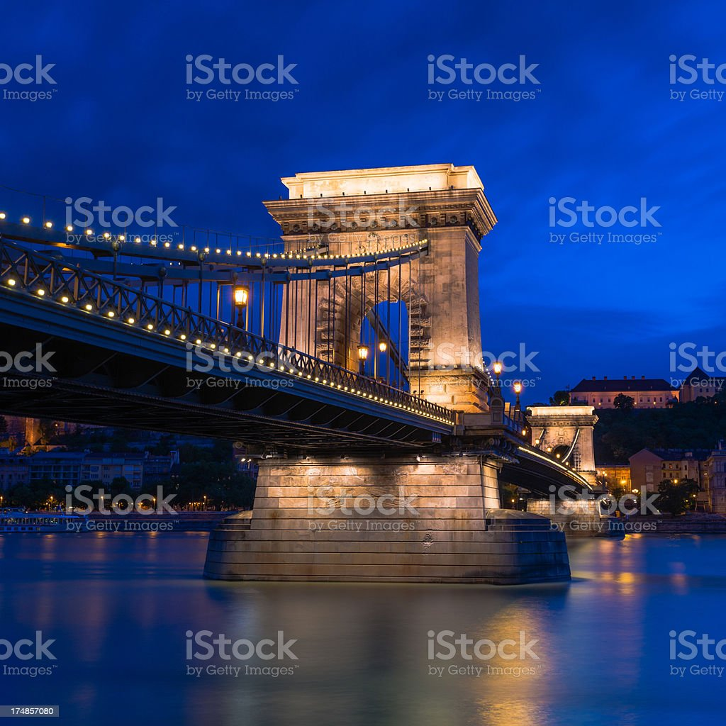 Chain bridge at dusk royalty-free stock photo
