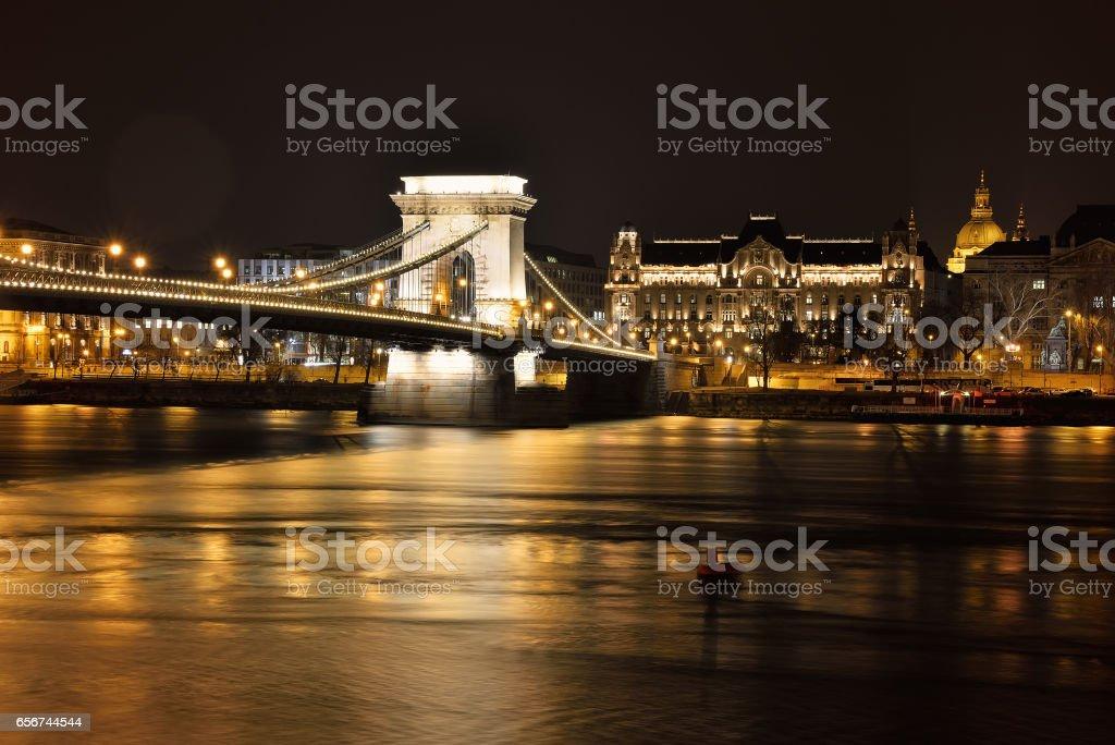 Chain Bridge at night stock photo