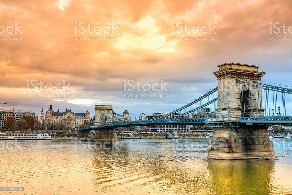 Chain Bridge at sunset in Budapest, Hungary. stock photo