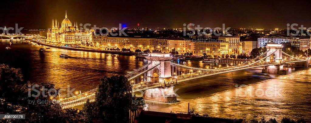 chain bridge budapest hungary dusk horizontal night parliament Országház stock photo
