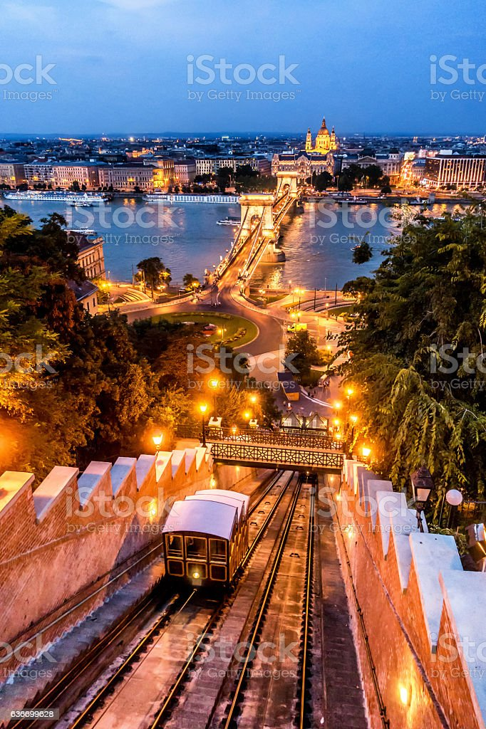 chain bridge budapest hungary dusk vertical stephen's basilica funicular Sikló stock photo
