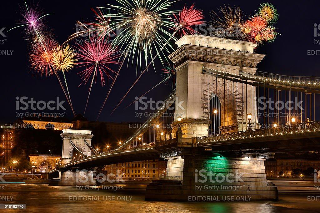 Chain Bridge - Budapest - Hungary stock photo