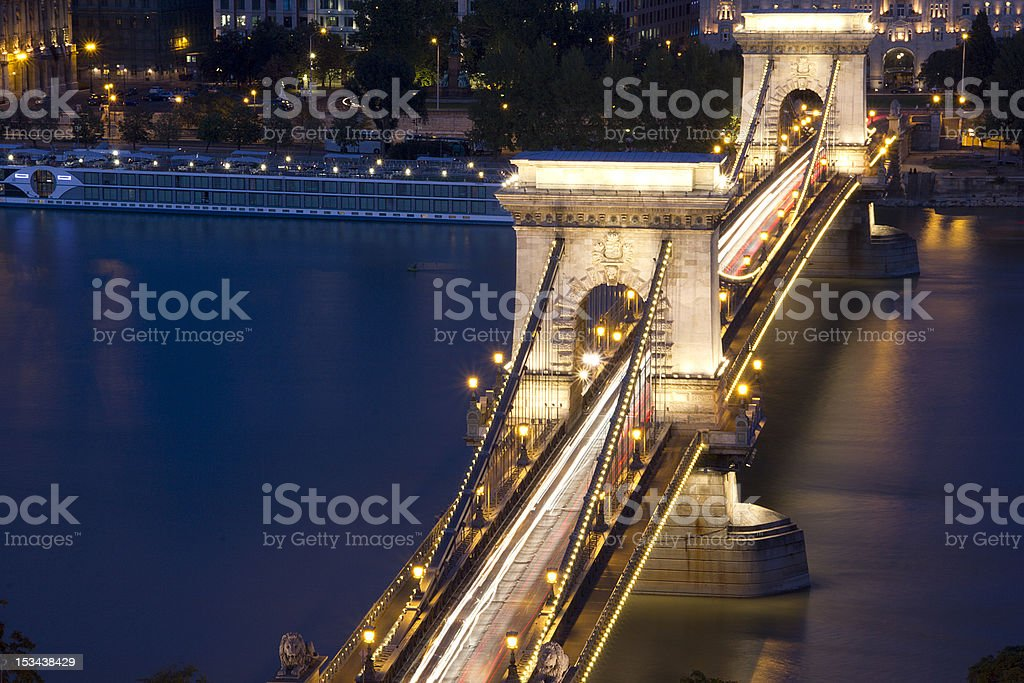 Chain Bridge in Budapest at blue Hour royalty-free stock photo