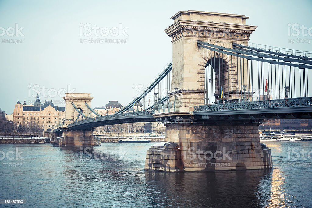 Chain Bridge in Budapest at Dusk stock photo