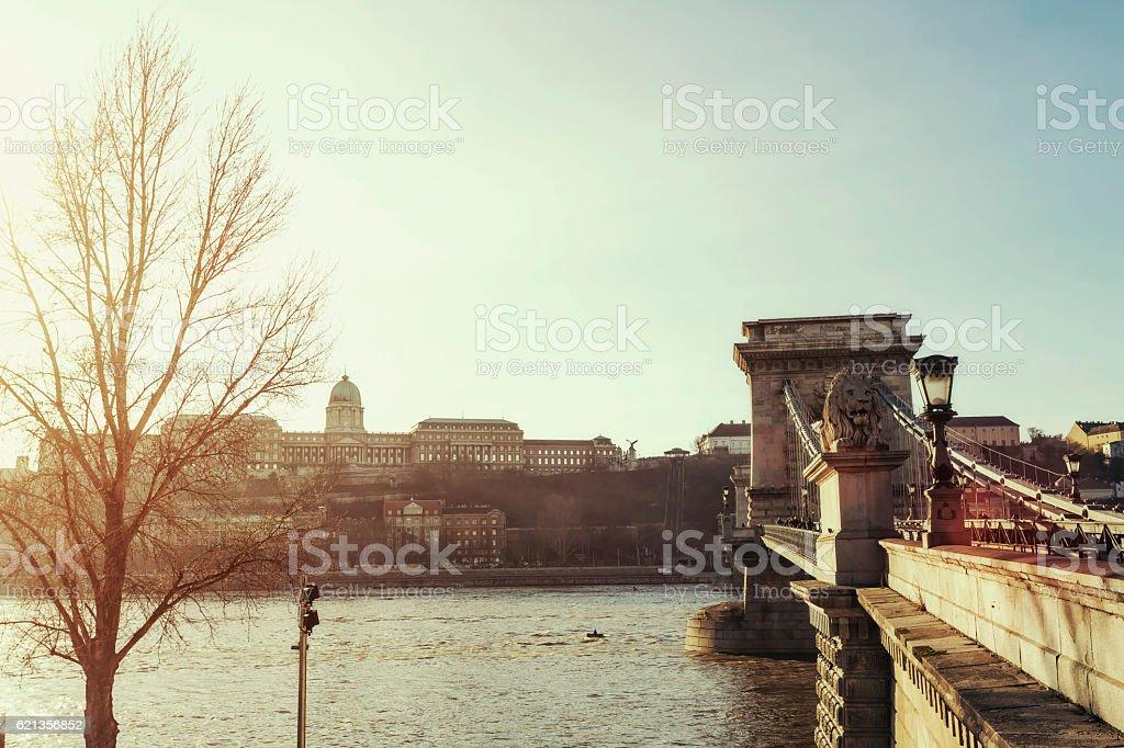 Chain Bridge in Budapest at sunset stock photo