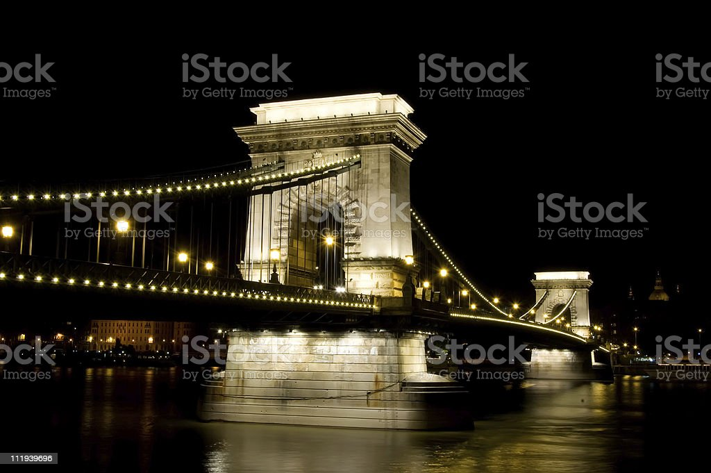 Chain Bridge in Budapest by Night royalty-free stock photo