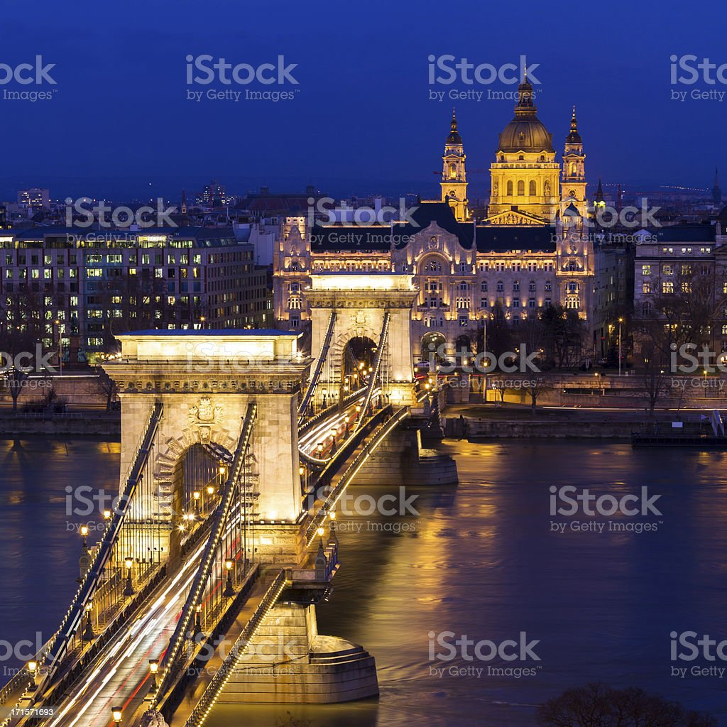 Chain Bridge in Budapest, Hungary royalty-free stock photo