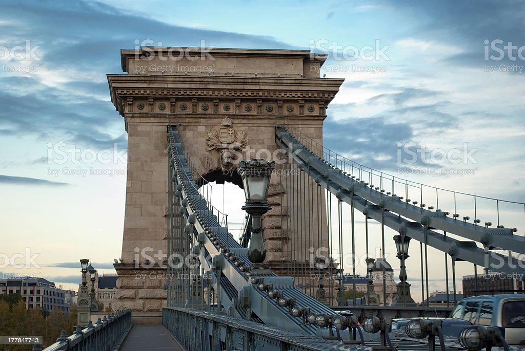 Chain Bridge in Budapest (Hungary) royalty-free stock photo
