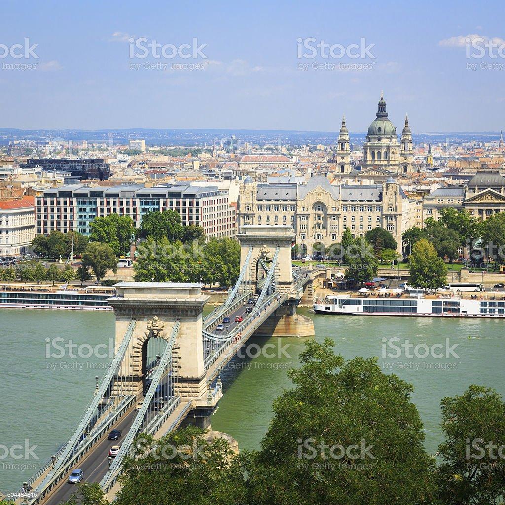 Chain Bridge in Budapest stock photo