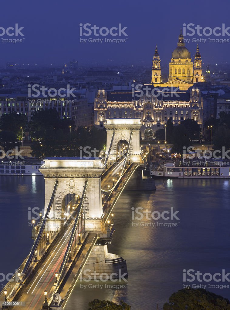 Chain Bridge in Budapest royalty-free stock photo
