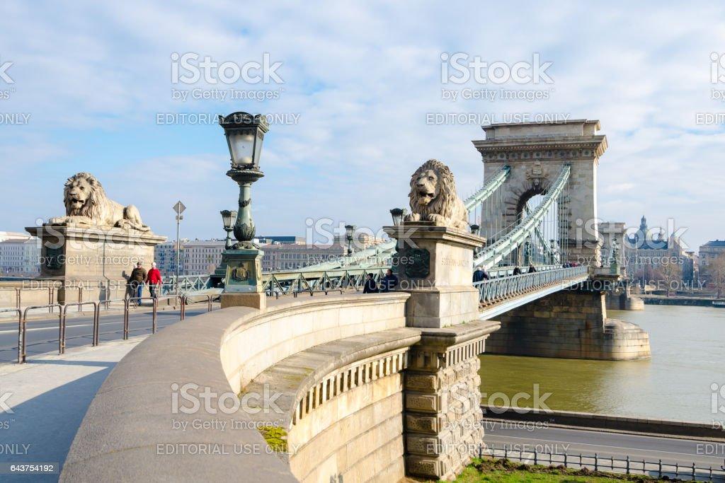 Chain Bridge in Budapest. Szechenyi Lanchid is a bridge over the River Danube. stock photo
