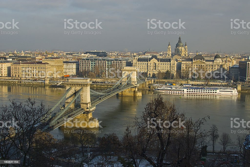 HDR Chain Bridge in Budapest with River Donau stock photo