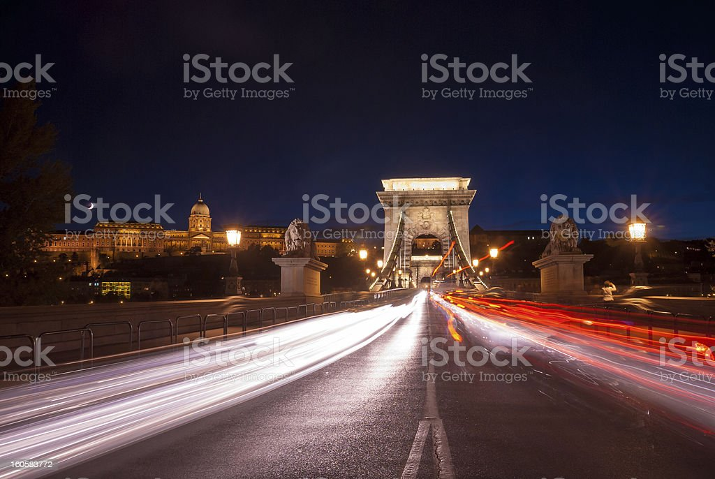 Chain Bridge in Budapest with traffic motion royalty-free stock photo