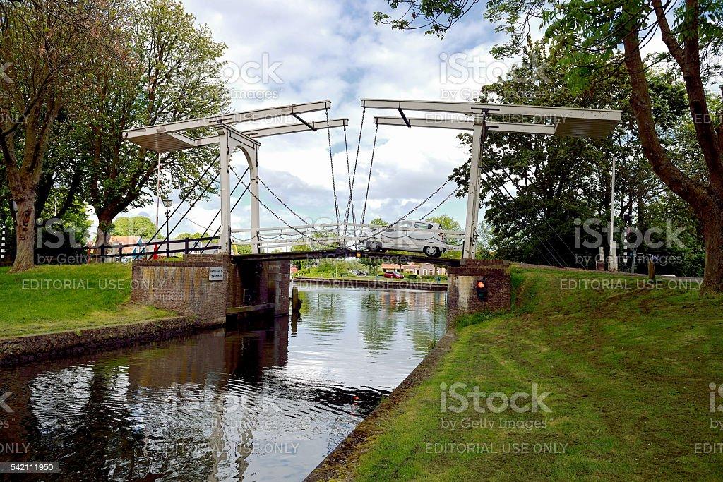 Chain bridge in Edam stock photo