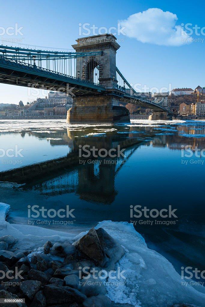 Chain bridge in winter stock photo