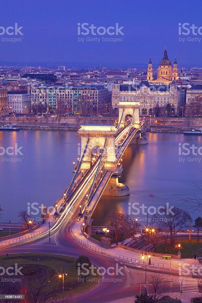Chain Bridge of Budapest at night royalty-free stock photo