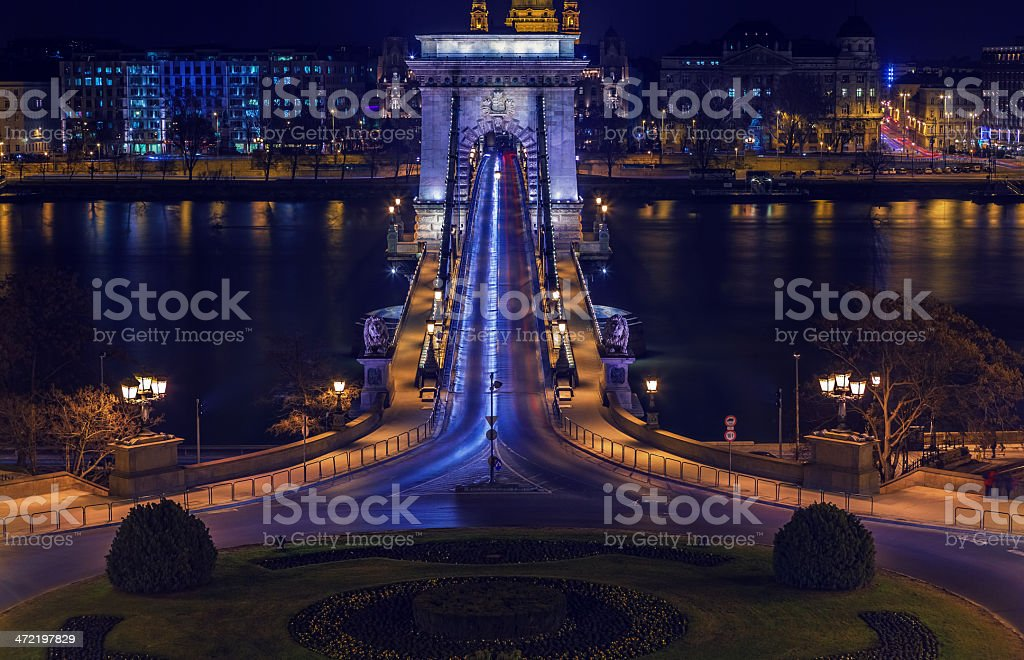 Chain Bridge of Budapest at night royalty-free stock photo