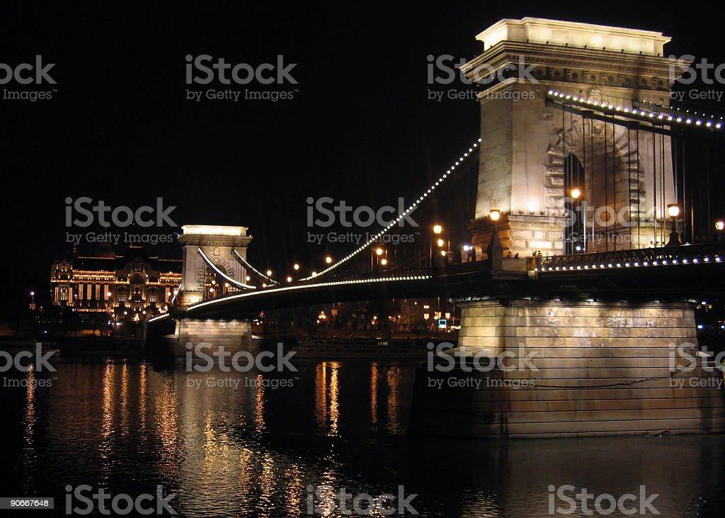 Chain Bridge of Budapest by night royalty-free stock photo