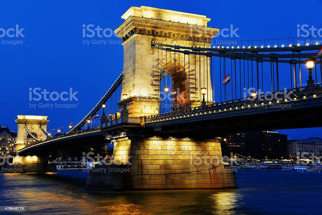 Chain Bridge on Danube in Budapest by night stock photo