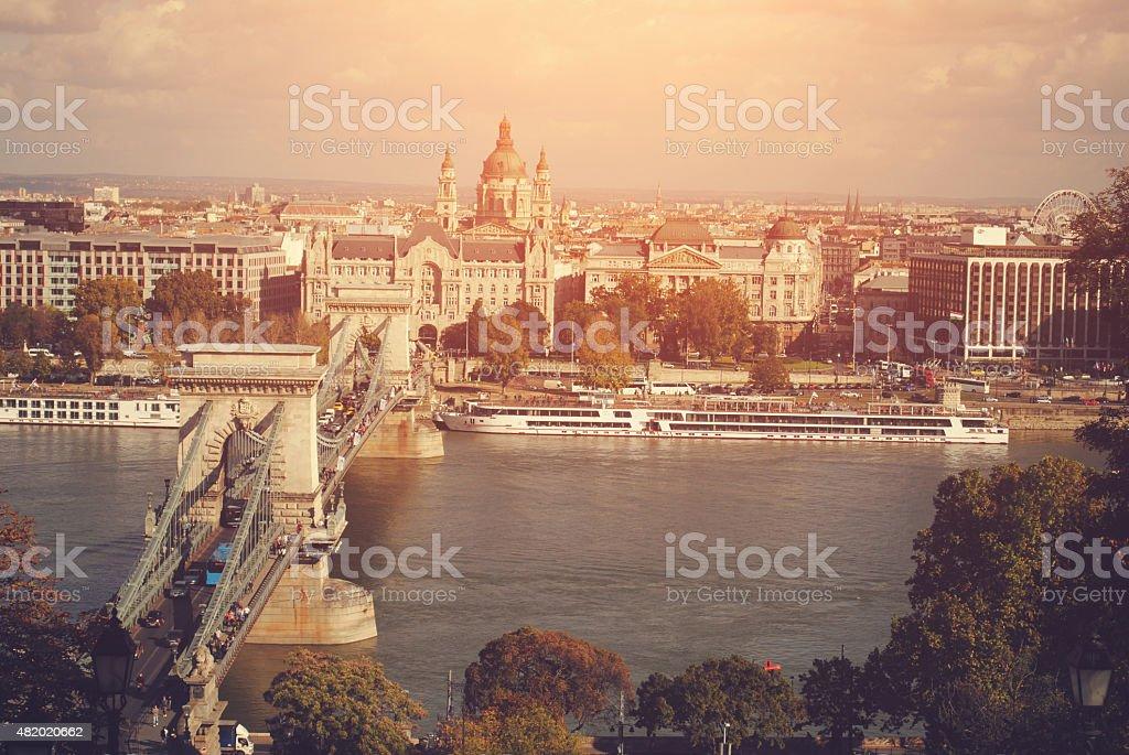Chain Bridge on Danube in Budapest . stock photo