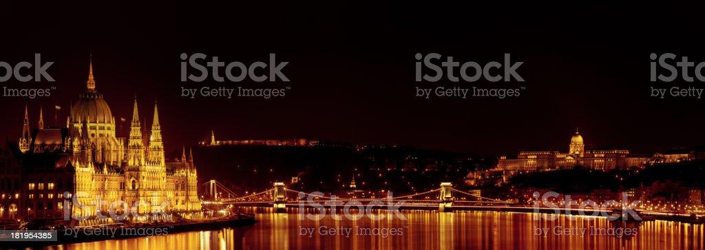 Chain bridge on Danube river in Budapest stock photo