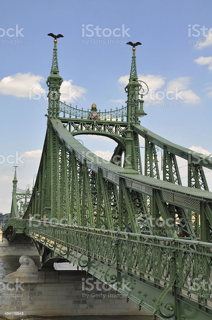 Chain Bridge over Danube river in Budapest, Hungary royalty-free stock photo
