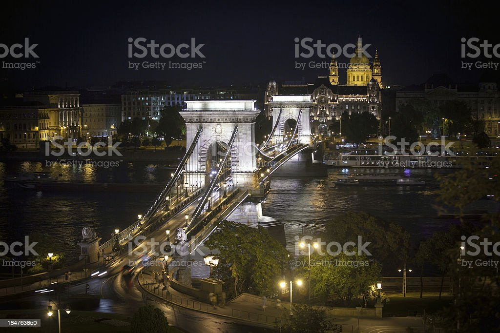 Chain Bridge over Danube river in Budapest royalty-free stock photo