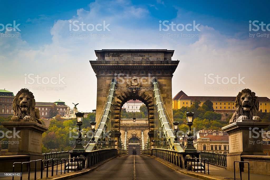 Chain Bridge over the River Danube in Budapest, Hungary stock photo
